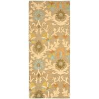 "Safavieh Handmade Moroccan Cambridge Paradise Moss Green Wool Rug - 2'6"" x 6'"