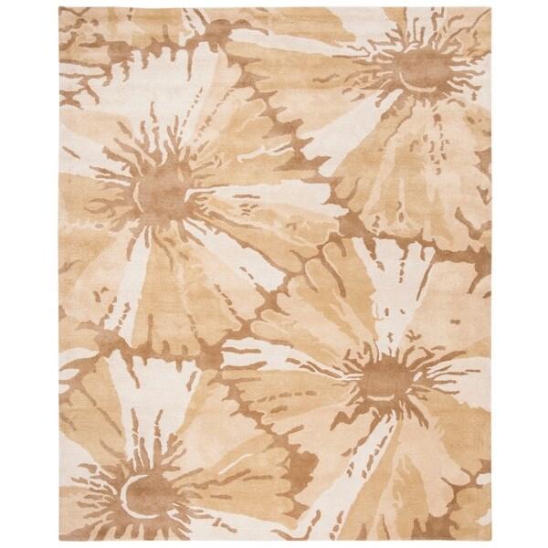 "Safavieh Handmade New Zealand Wool Floral Brown Rug - 7'6"" x 9'6"""