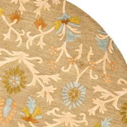 Safavieh Handmade Moroccan Cambridge Paradise Moss Green Wool Rug (8' Round) - Thumbnail 1