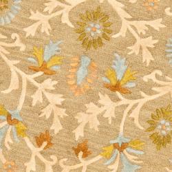 Safavieh Handmade Moroccan Cambridge Paradise Moss Green Wool Rug (8' Round) - Thumbnail 2