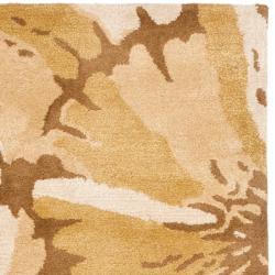 Safavieh Handmade New Zealand Wool Floral Brown Rug (2'6 x 8') - Thumbnail 1