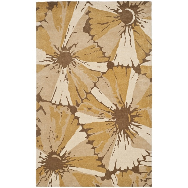 Safavieh Handmade New Zealand Wool Floral Gold Rug (7'6 x 9'6)
