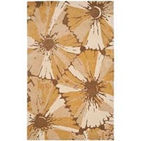 Safavieh Handmade New Zealand Wool Floral Gold Rug - 7'6 x 9'6