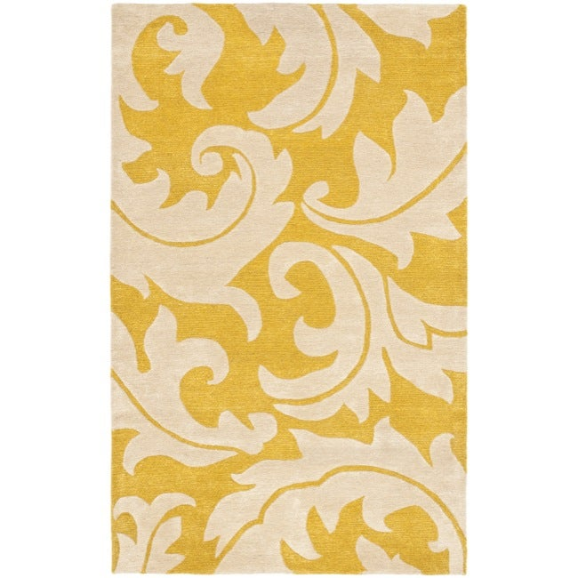 Safavieh Handmade Soho Gold/ Ivory New Zealand Wool Rug (6' x 9')
