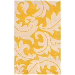 Tufted A43 Transitional Gold Yellow Wool Silk Runner Rug