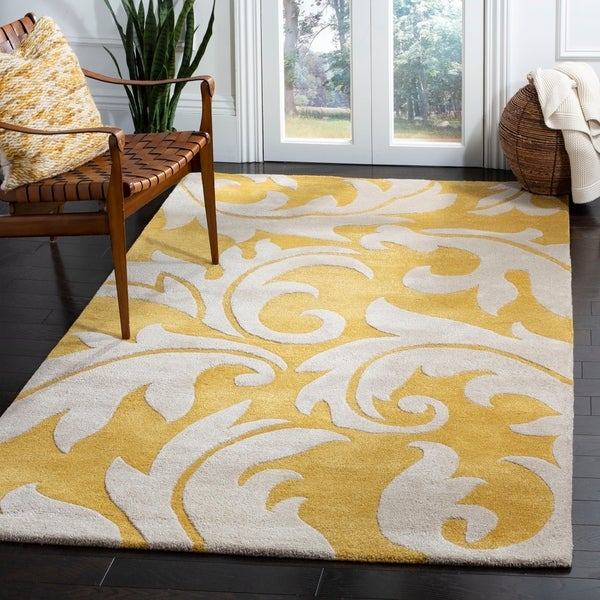 "Safavieh Handmade Soho Gold/ Ivory New Zealand Wool Rug - 8'-3"" x 11'"
