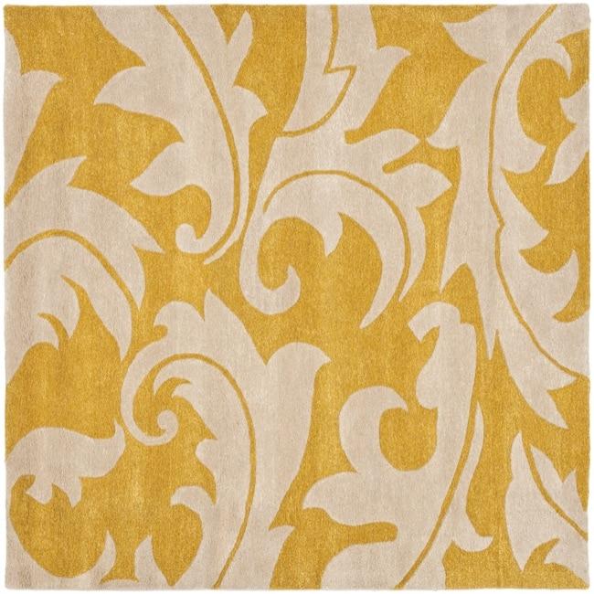 Safavieh Handmade Soho Gold/ Ivory New Zealand Wool Rug (8' Square)