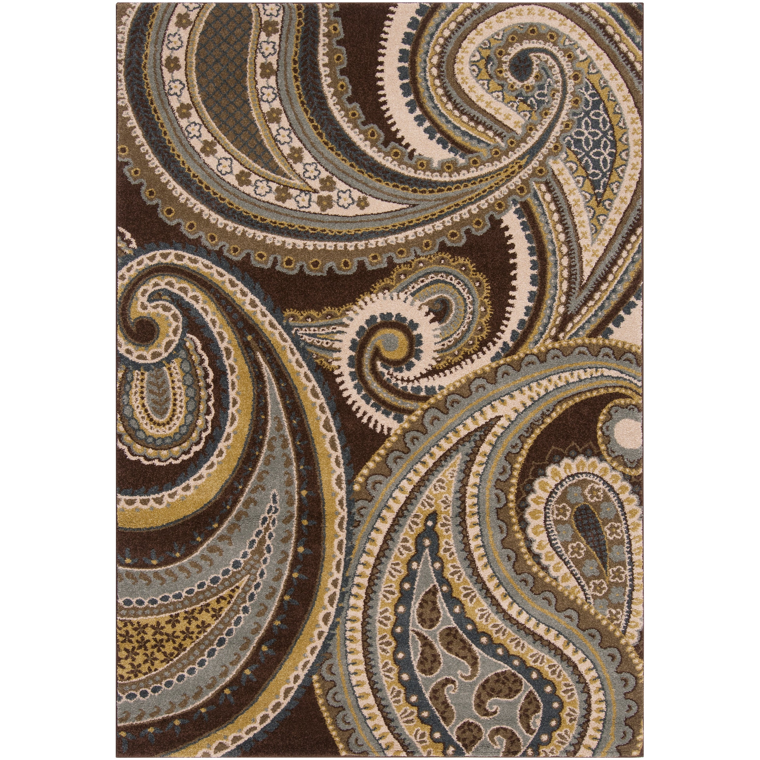 Contemporary Brown Green Paisley Floral Clover Area Rug