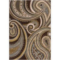 Contemporary Brown/Green Paisley Floral Clover Area Rug - 2'2 x 3'