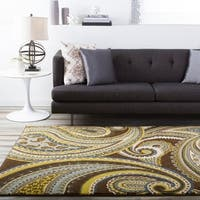 "Contemporary Brown/Green Paisley Floral Clover Area Rug - 2'2"" x 3'"