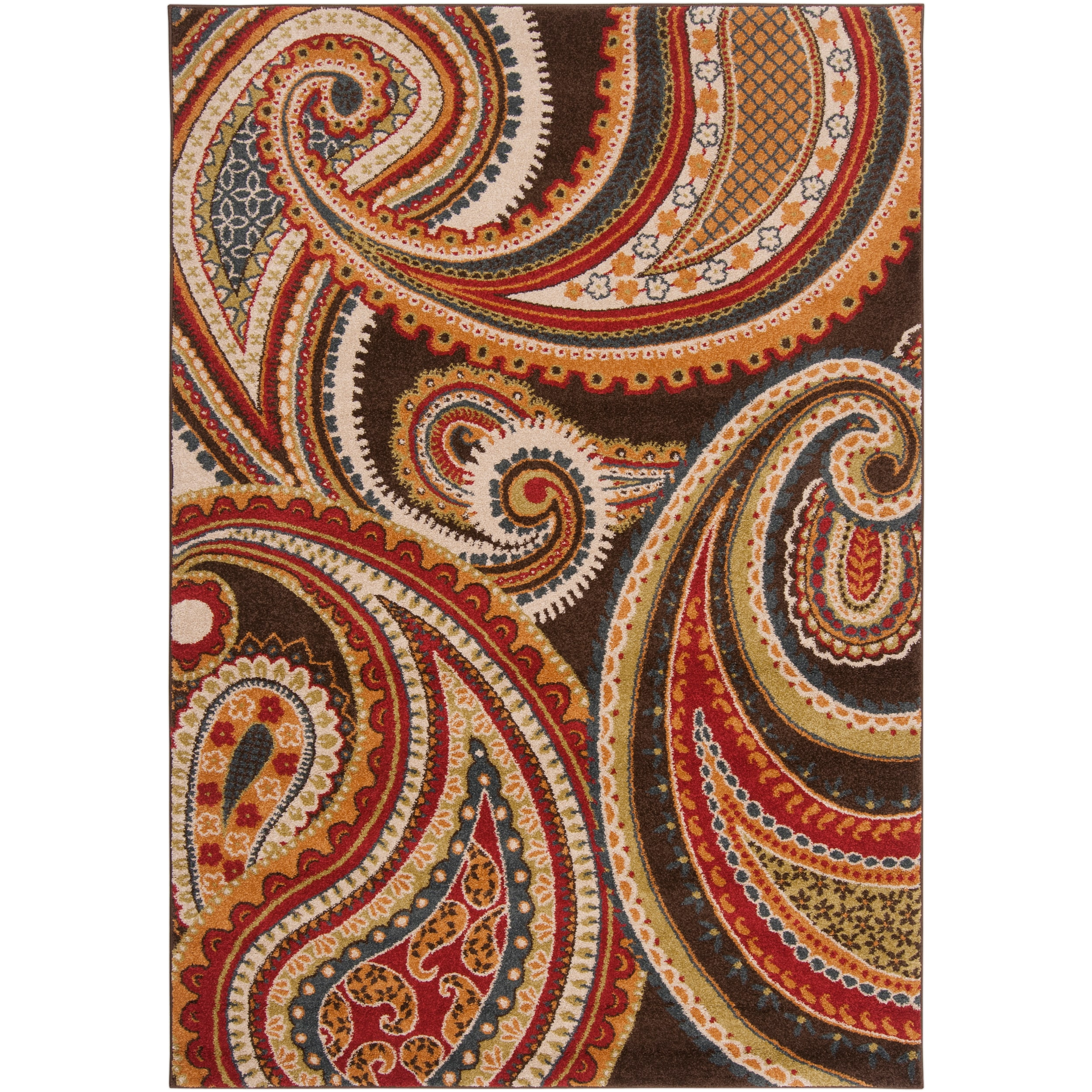 Meticulously Woven Contemporary Brown/Red Floral Paisley Floral Carnation  Rug (2u0026#x27;
