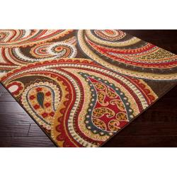 Lovely Meticulously Woven Contemporary Brown/Red Floral Paisley Floral Carnation  Rug (2u00272 U2026