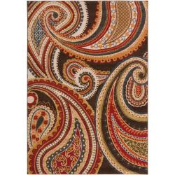 Meticulously Woven Contemporary Brown/Red Floral Paisley Floral Carnation Rug (2'2 x 3')