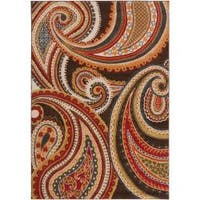 Contemporary Brown/Red Floral Paisley Floral Carnation Area Rug - 2'2 x 3'