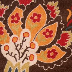 Meticulously Woven Contemporary Brown Floral Lily Rug (2'2 x 3') - Thumbnail 2