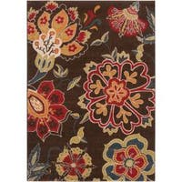 "Contemporary Brown Floral Lily Area Rug - 2'2"" x 3'"