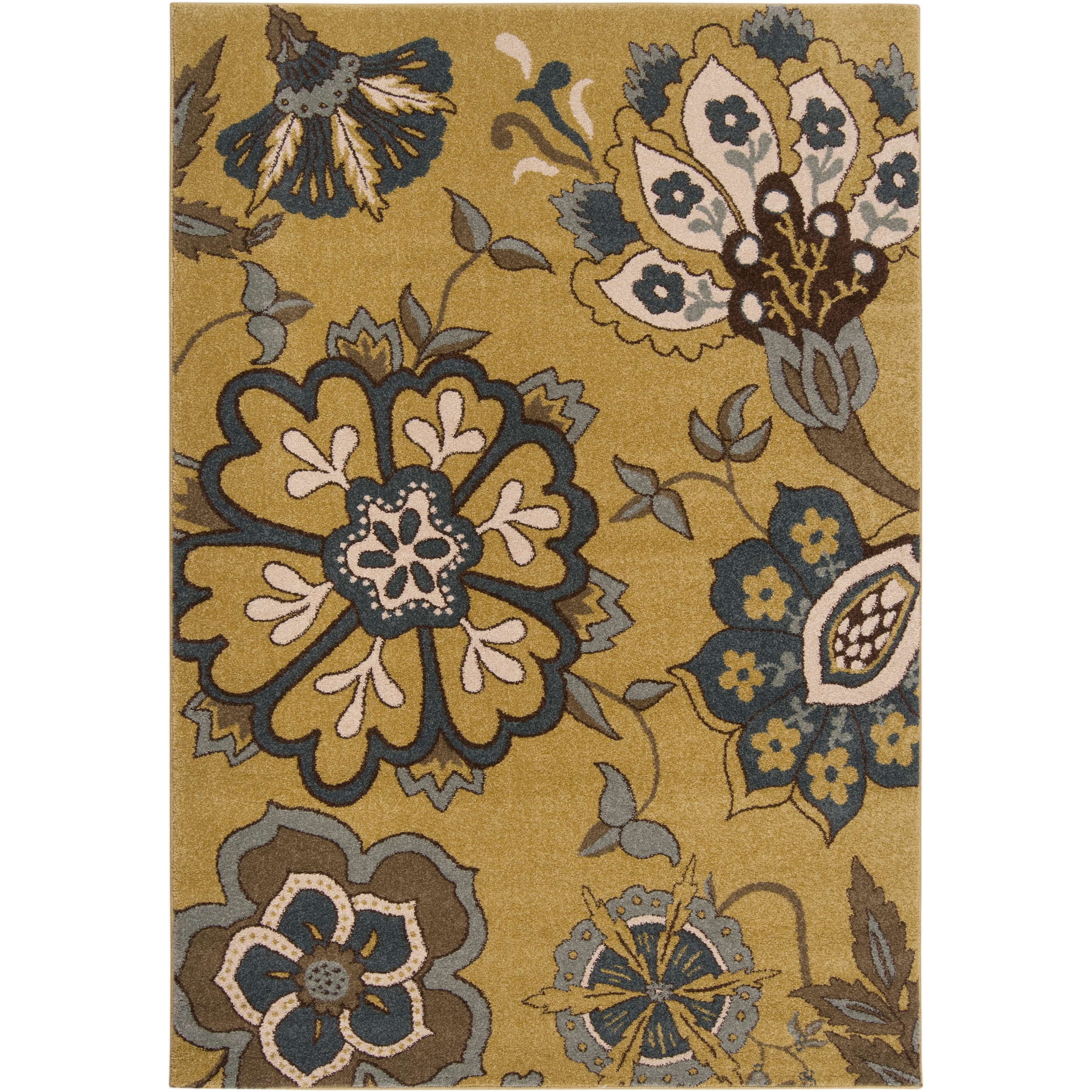Meticulously Woven Contemporary Moss Green Floral Rose Rug (2'2 x 3')
