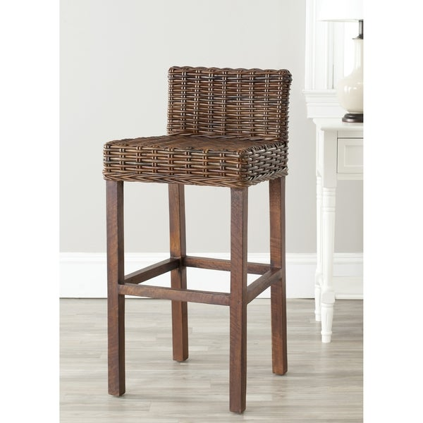 Shop Safavieh St Thomas Indoor Wicker Brown Bar Stool