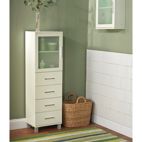Simple Living Frosted Pane 4 Drawer Linen Cabinet Free