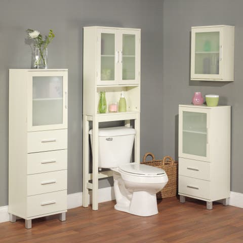 Simple Living Frosted Pane Four Drawer Linen Cabinet