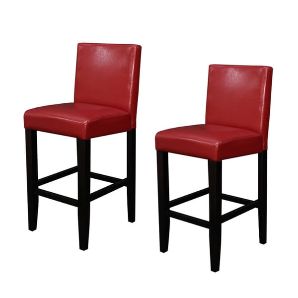 Villa Faux Leather Red Counter Stools Set Of 2 Free