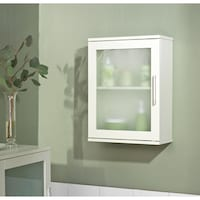 Small Wall Cabinets For Bathroom. Simple Living Antique White Frosted Pane Wall Cabinet