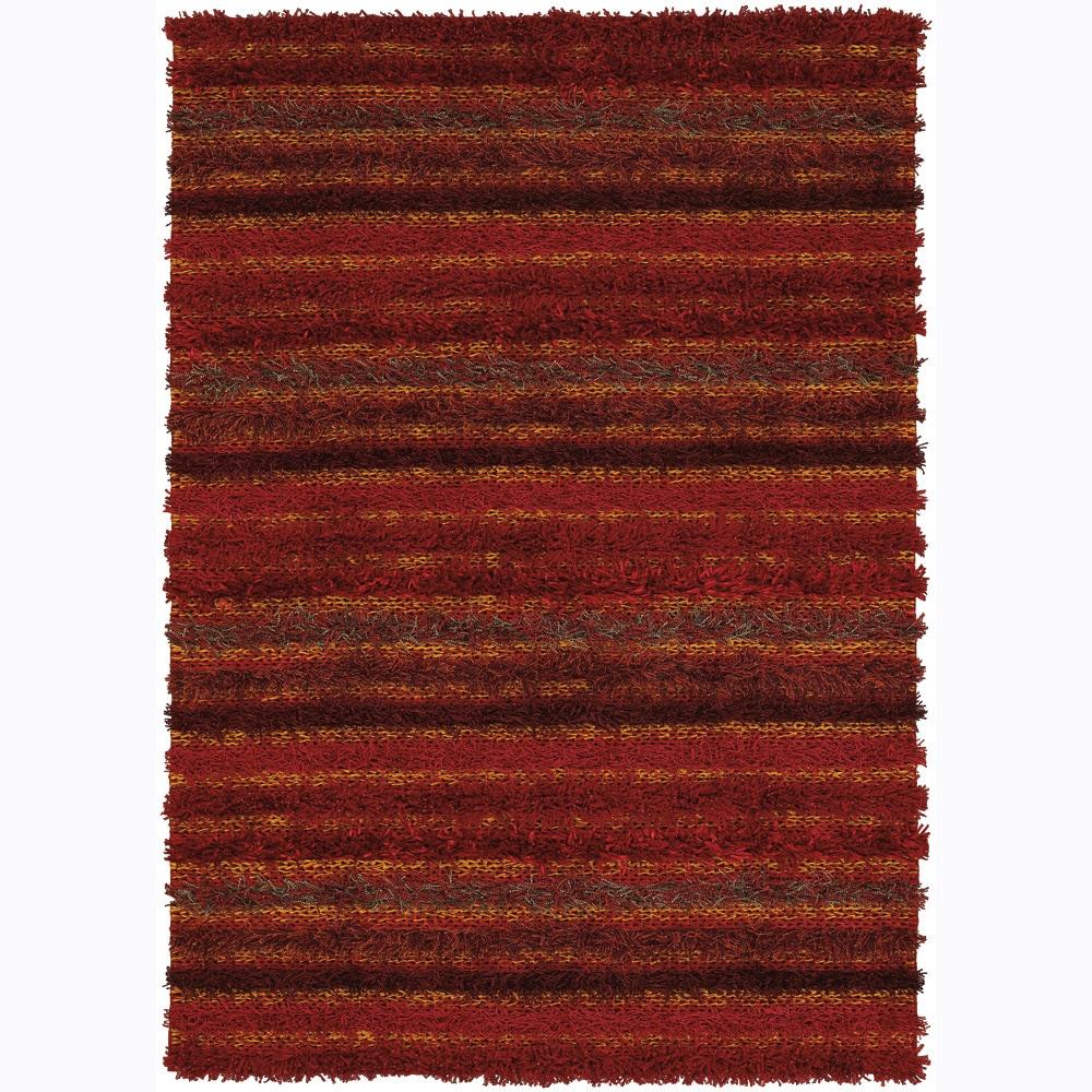 Handwoven Warm Striped Mandara Shag Rug (9' x 13')