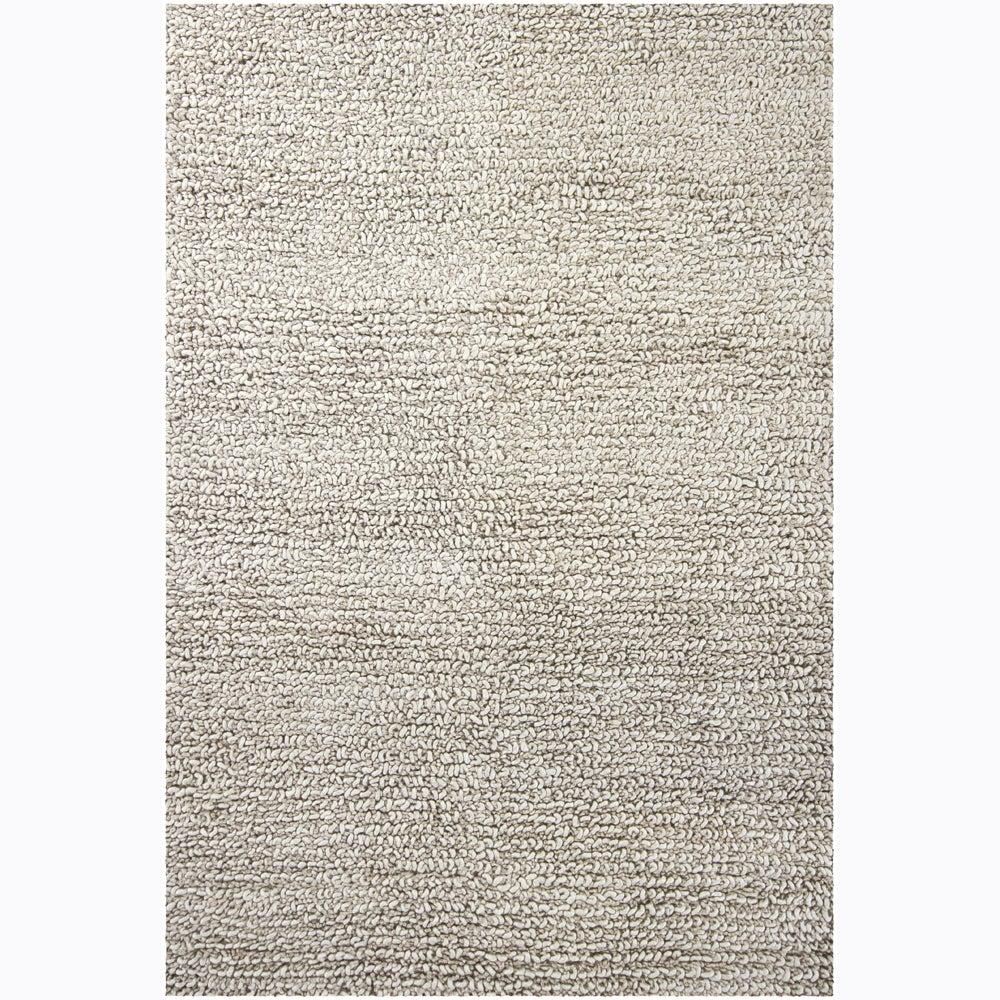 Hand Loomed Shine Rug Gray: Artist's Loom Hand-woven Wool Shag Rug (5'x7'6)