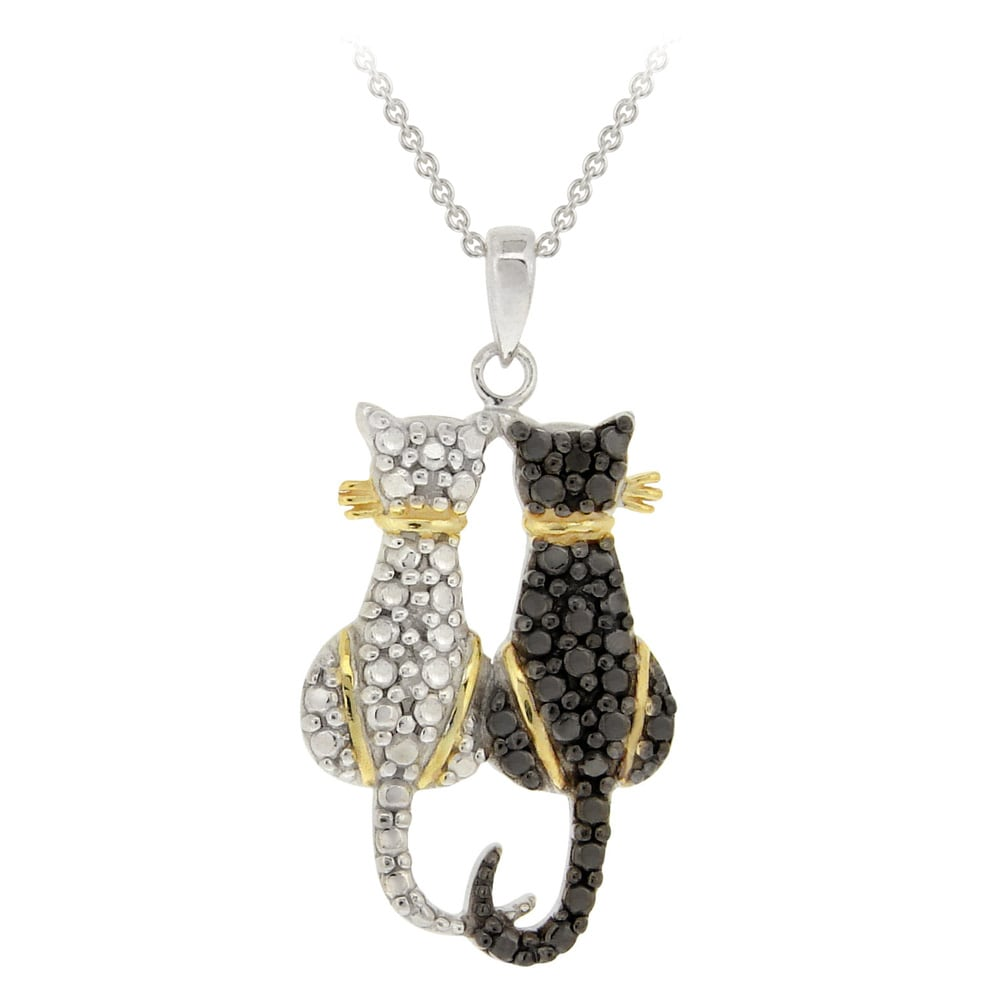 DB Designs Tri-color Black Diamond Accent Two Cats Necklace - Thumbnail 0