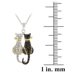 DB Designs Tri-color Black Diamond Accent Two Cats Necklace - Thumbnail 2