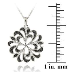 DB Designs Sterling Silver Black Diamond Accent Swirl Flower Necklace - Thumbnail 2