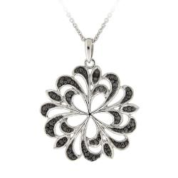 DB Designs Sterling Silver Black Diamond Accent Swirl Flower Necklace - Thumbnail 0