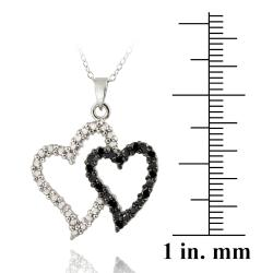 DB Designs Sterling Silver 1/10ct TDW Black Diamond Double Heart Necklace - Thumbnail 2