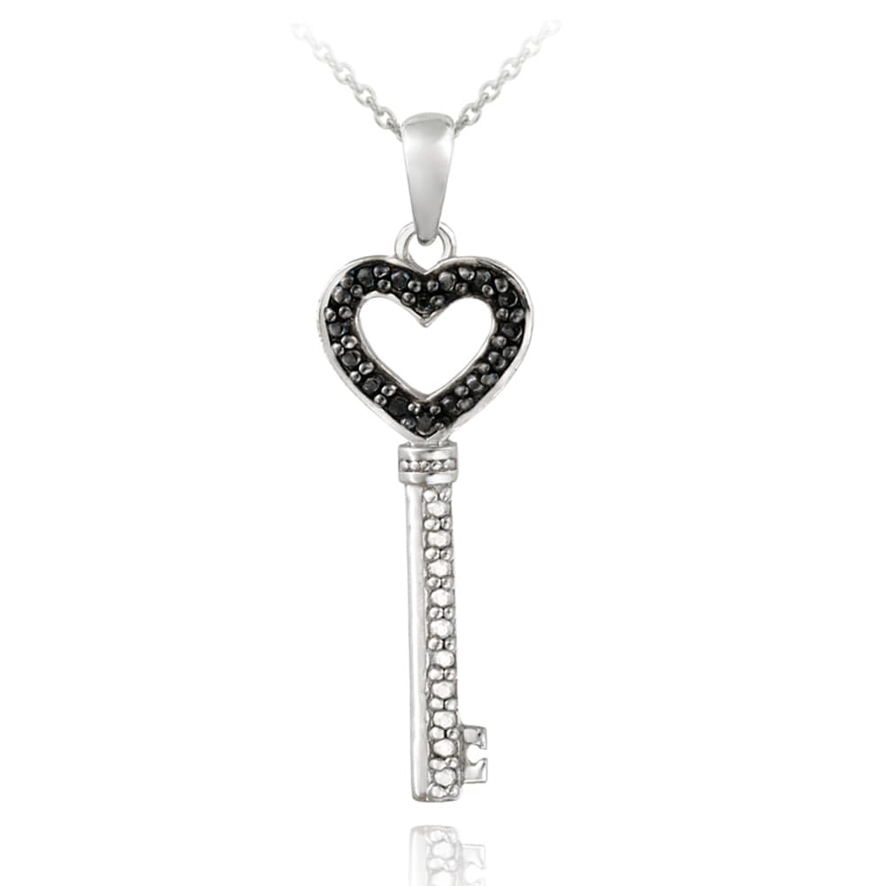 DB Designs Sterling Silver Black Diamond Accent Heart Key Necklace - Thumbnail 0