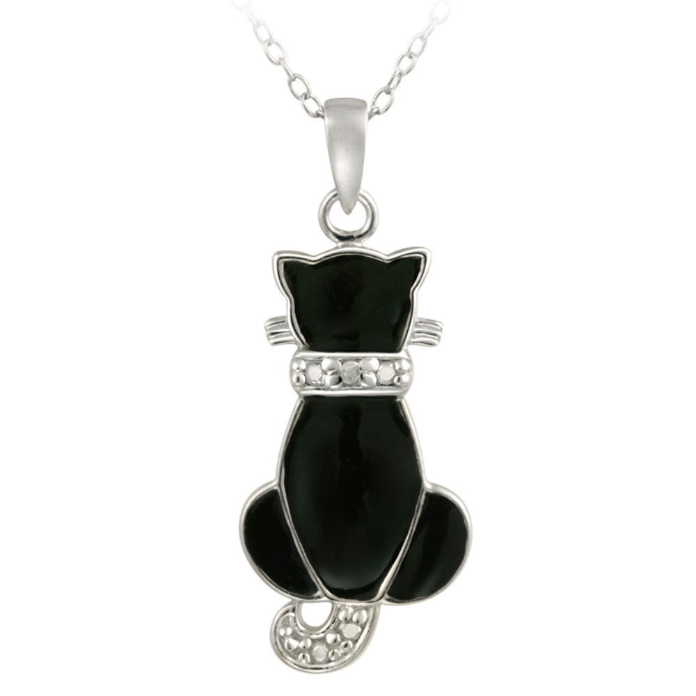 cat jewelry shop db designs sterling silver white accent black 4248