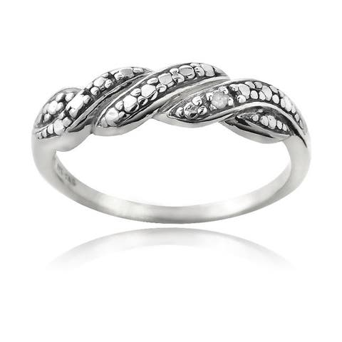 DB Designs Sterling Silver Black Diamond Accent Braided Ring
