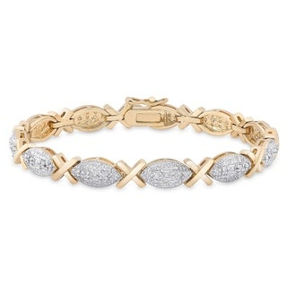 Finesque Gold Overlay 1/4 ct TW Diamond Bracelet