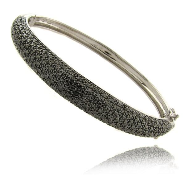 Finesque Black Diamond Accent Bangle Bracelet