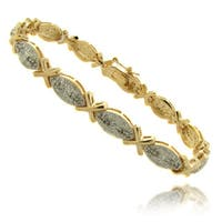 Finesque 14k Gold Overlay 1/4 ct TW Diamond Marquise 'X' Bracelet