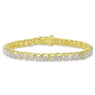 Finesque 14k Gold Overlay 1 ct TW Diamond Tennis Bracelet