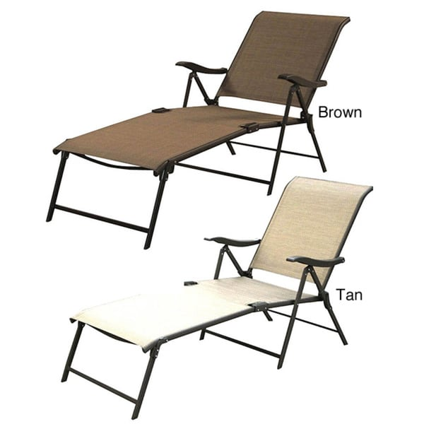 Shop Outdoor Patio Sling Folding Lounger Set Of 4 Free