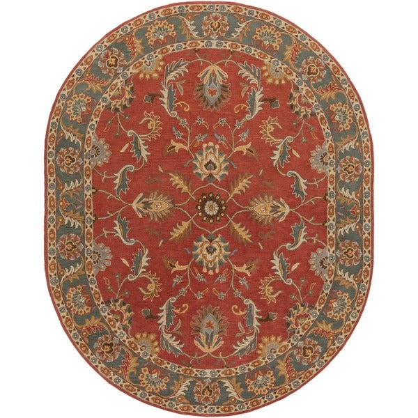 Hand-tufted Kiso Rust Traditional Border Wool Rug (8' x 10' Oval)