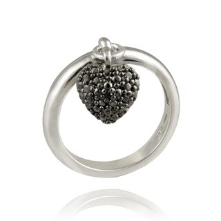 DB Designs Sterling Silver Black Diamond Accent Heart Charm Ring