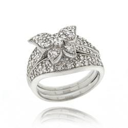 icz stonez sterling silver cubic zirconia butterfly ring set 1 25ct tgw - Butterfly Wedding Rings
