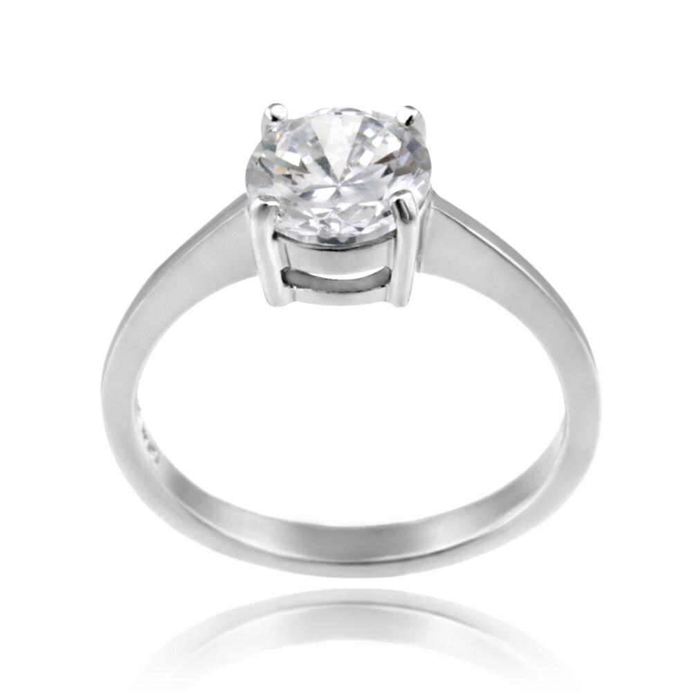 Icz Stonez Sterling Silver 7-mm Cubic Zirconia Solitaire Ring (2ct TGW)