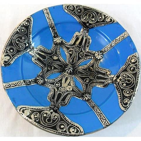 Handmade Petite Majestique Ceramic and Metal Decorative Plate (Morocco)