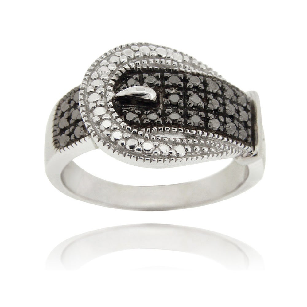 DB Designs Sterling Silver with Black Diamond Accent Buckle Ring - Thumbnail 0