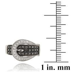 DB Designs Sterling Silver with Black Diamond Accent Buckle Ring - Thumbnail 2