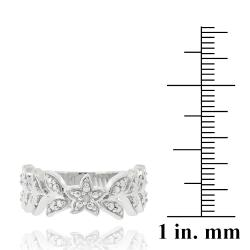DB Designs Sterling Silver Diamond Accent Leaf Design Ring - Thumbnail 2