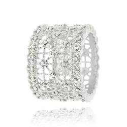 DB Designs Sterling Silver Diamond Accent Lace Design Ring - Thumbnail 1